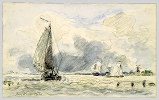 Dutch Fishing Boats, Verso: Sketches of BoatsJohan Barthold Jongkind (Dutch, 1819–1891)