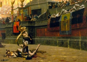 Gladiator-fights-in-the-arena-of-the-Roman-Colosseum