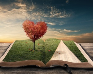 Heart shaped tree on open book