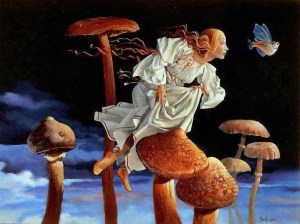 A-funny-fantasy-and-surrealism-painting-by-James-Christensen-of-an-angel-following-a-flying-fish-through-a-forest-of-mushrooms