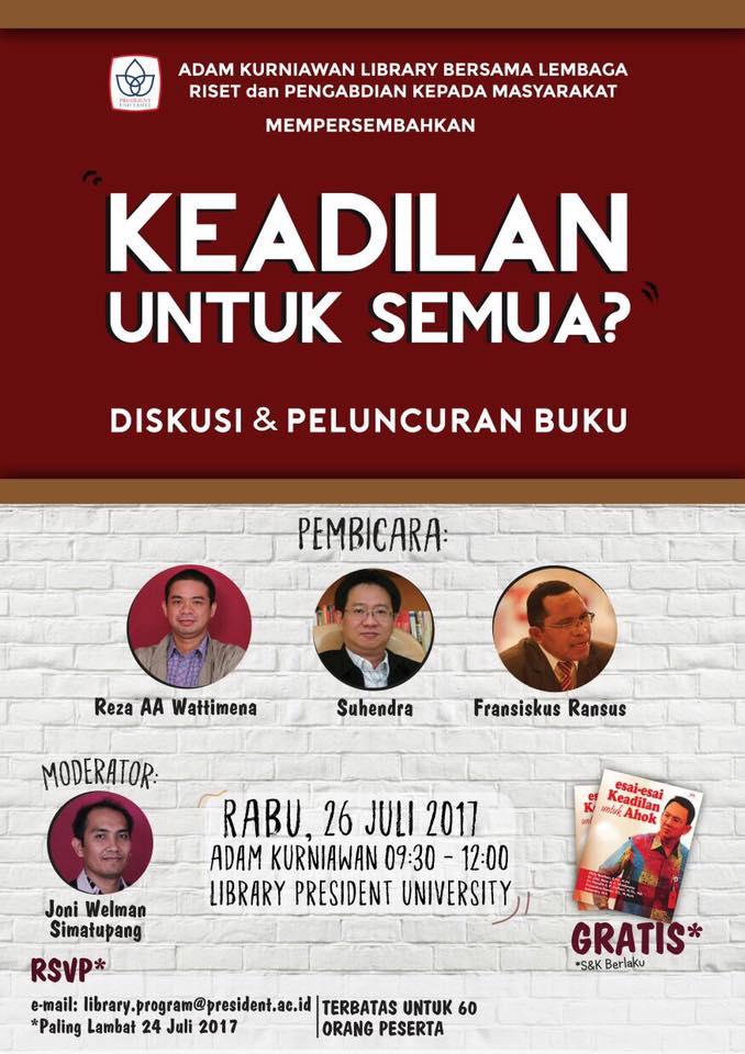 Poster Peluncuran Buku Keadilan