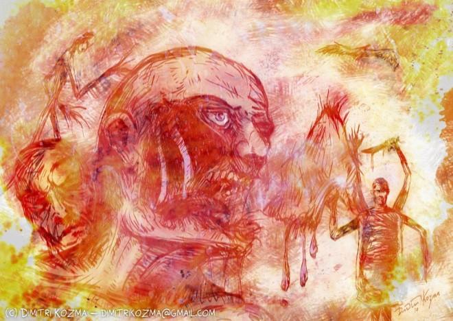 The Art Of Dimitri Kozma: Dementia - Surreal painting by Dimitri Kozma